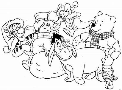 Disney Coloring Christmas Pages Pooh