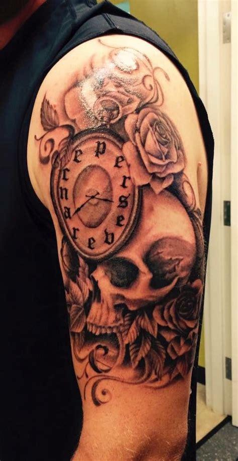 perseverance tattoo black  grey skull roses clock tattoos black grey tattoos grey