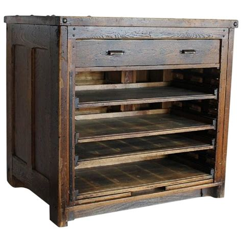 antique american printer wood cabinet  sale  stdibs
