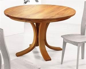 Table de cuisine ronde en bois table ronde en bois avec for Deco cuisine pour table ronde bois blanc avec rallonge