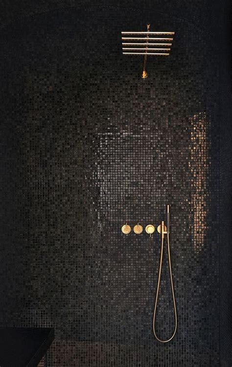 Glimmering Black Mosaic Tiles Interior_ Ee  Bathroom Ee