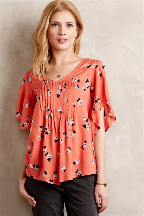 maeve blouse maeve fluttered blouse in orange lyst