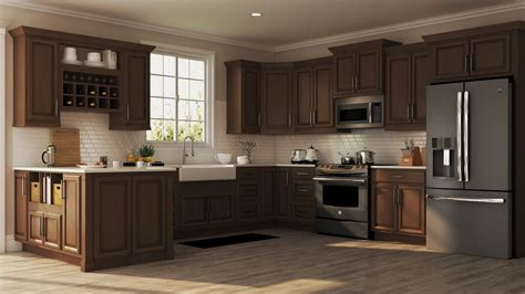 hampton wall kitchen cabinets  cognac kitchen