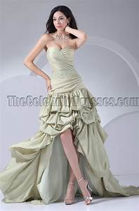 Sage Green Color Chart Strapless Hi Low Formal Pageant Dress Prom Gown