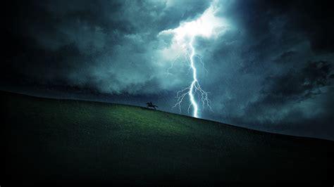 lightning horse horse riding rain fantasy art
