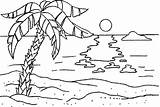 Sunset Coloring Pages Printable Sheets Beach Drawing sketch template