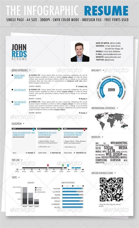 clean infographic resume graphicriver item for sale