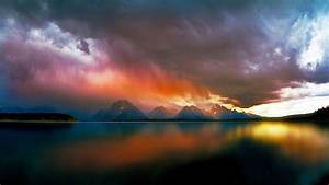 Lake, Mountain, Storm, Clouds, Nature, Landscape, Water, Rain, Colorful, Reflection, Wallpapers