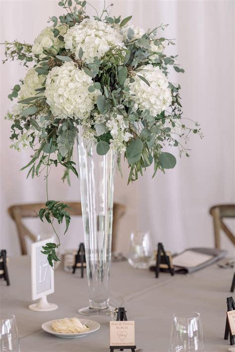 Pilsner Vase With White Hydrangea Eucalyptus Dusty