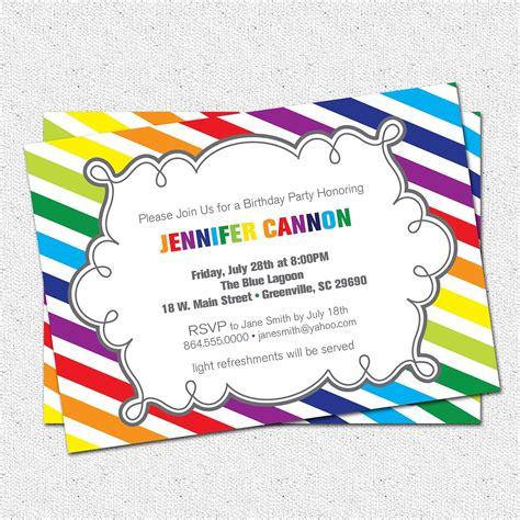 rainbow invitation template Google Search Party invite