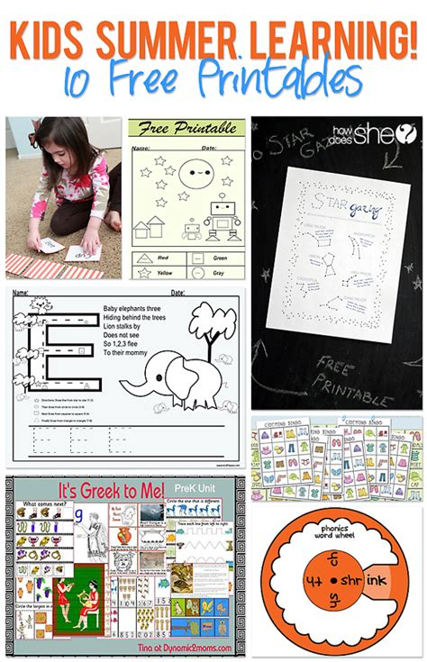 10 free printables to help kids keep learning all summer