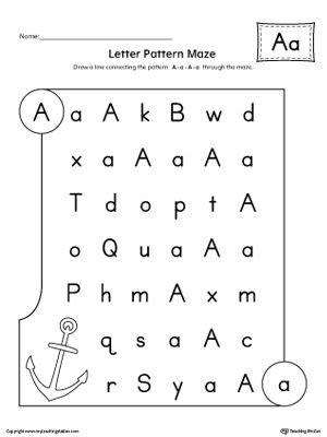 letter a pattern maze worksheet alphabet worksheets
