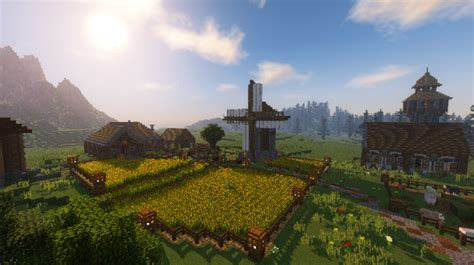 medieval village  castle  mb map  minecraft