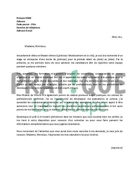 lettre de motivation en cuisine lettre de motivation pour un stage en master de chimie