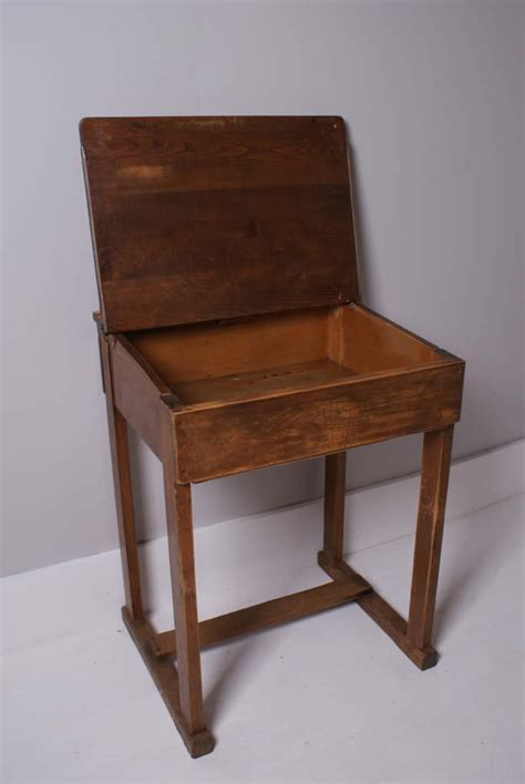 Children's Vintage Wooden School Desks  Blue Ticking