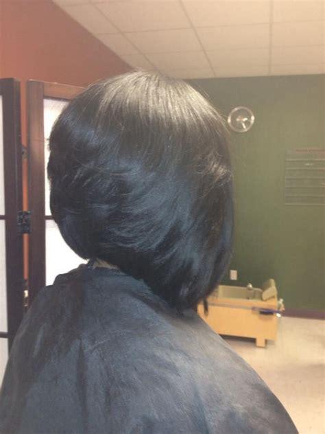 Sew In Layered Bob Hairstyles by Razor Cut Layered Sew In Angle Bob Ethnic Hair Hair