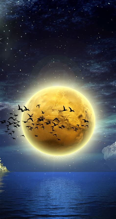 big moon on the sea hd wallpaper in the
