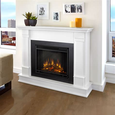 real flame silverton white electric fireplace ge