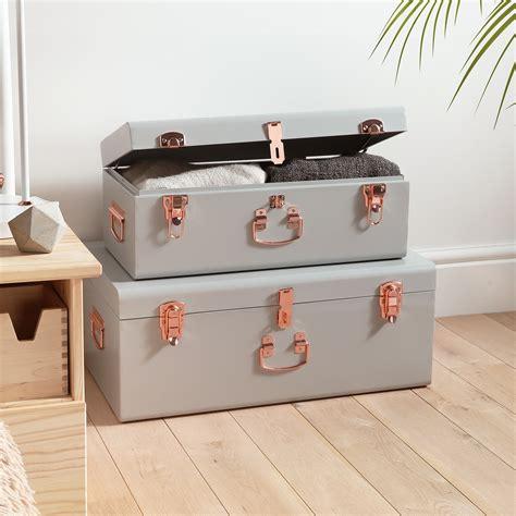 storage chest trunk beautify 2 set gray steel storage trunk chest college 2549