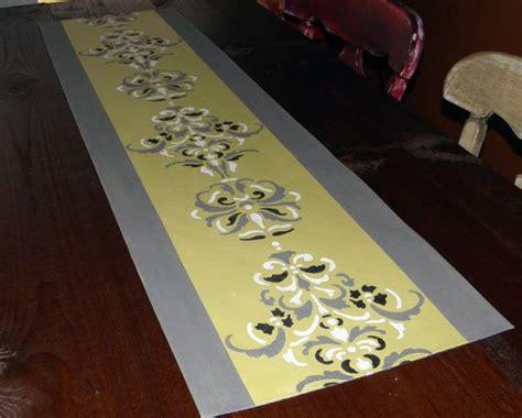 table runner yellow gray white black elegant scroll  steponitart  darren sarah