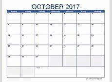 October 2017 Calendar Template free calendar 2018