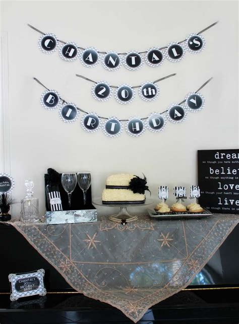 1920 s black white glam birthday party ideas photo 1