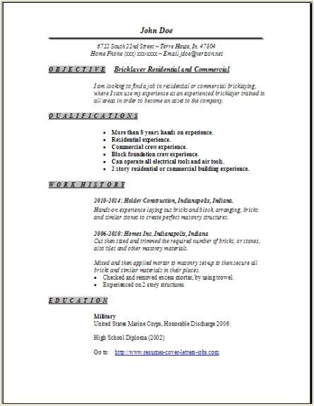 bricklayer resume occupationalexamples samples
