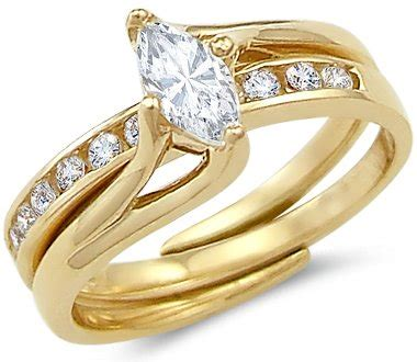 affordable solid 14k yellow gold engagement wedding cz cubic zirconia 2 ring 1 0