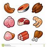 Meat Icons Carne Alimento Fondo Pollo Vettoriale