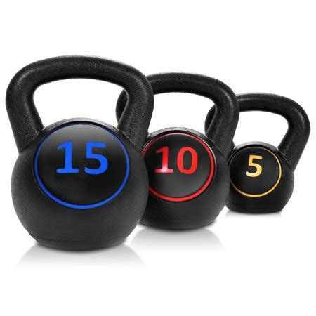 weights kettlebell kit training vinyl body muscles 3pc gymax walmart goplus pcs gym kettlebells 15lbs exercise button zoom