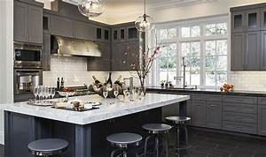 50 gorgeous gray kitchens that usher in trendy refinement With kitchen cabinet trends 2018 combined with cheap large canvas wall art