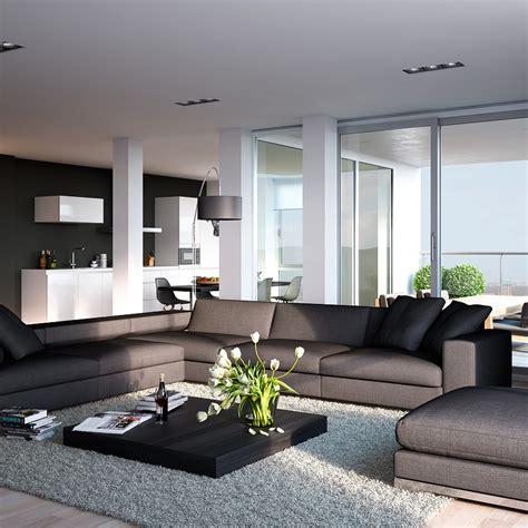 modern kitchen living room ideas triple d modern white stone and blonde wood apartment open plan kitchen living interior