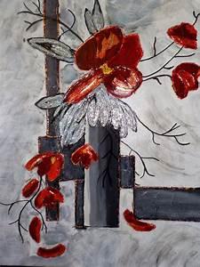 Tableau Peinture Sur Toile : d coration murale tableau peinture fleurs coquelicots abstraits art pinterest tableau ~ Teatrodelosmanantiales.com Idées de Décoration