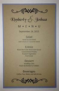 half sheet wedding menu template 1 With size of wedding menu cards