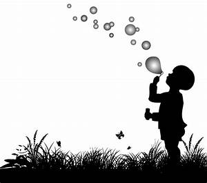 Vector Silhouette of Small Boy Blowing Bubbles, Vectores ...
