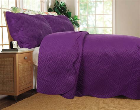 Coverlet Sets by Dada Bedding Thin Lightweight Solid Purple Plum Quilted