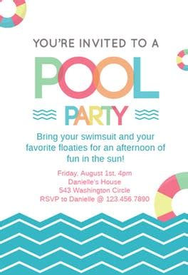 fun afternoon pool party invitation template