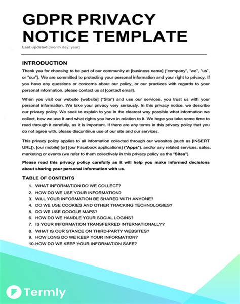 Privacy Policy Template For Apps by Modern Privacy Policy Templates Festooning Resume