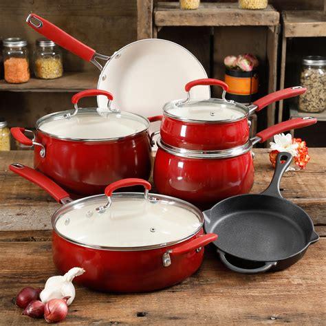 pioneer woman ceramic cookware iron cast belly classic piece stick non nonstick pans walmart interior button pots kitchen wal