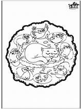 Mandala Cats Mandalas Pages Coloring Animal Animals Advertisement Symmetries Funnycoloring sketch template