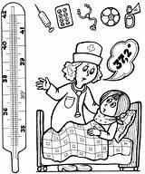 Thermometer Coloring Hospital Pages Ziek Preschool Zijn Activities Kleur Worksheets Health Education Doctor Drawing Tot Graden Helpers Community Medical Books sketch template
