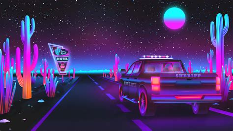sheriff on patrol 3840x2160 vaporwave wallpaper