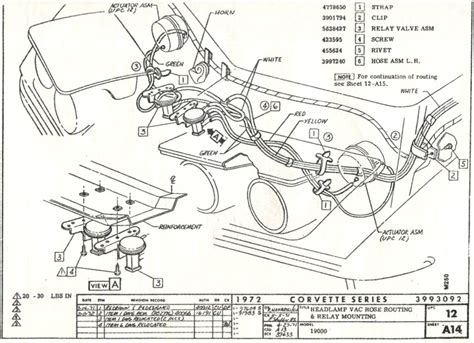 05 Corvette Part Diagram by 1972 Corvette Headlight And Vacuum Line Component Schematic