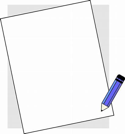 Paper Pencil Clip Notebook Clipart Blank Borders