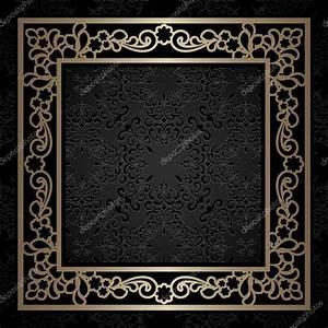 Square gold frame, vintage background — Stock Vector ...
