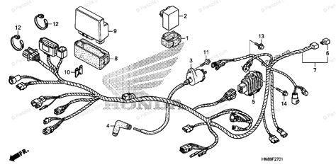 Honda Recon 250 Regulator Rectifier Wiring Diagram by Honda Atv 2012 Oem Parts Diagram For Wire Harness