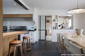 Meuble separation cuisine salon with montagne salle a for Idee deco cuisine avec meuble salle a manger et salon