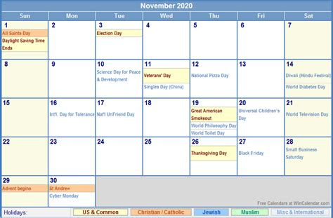 november calendar holidays picture