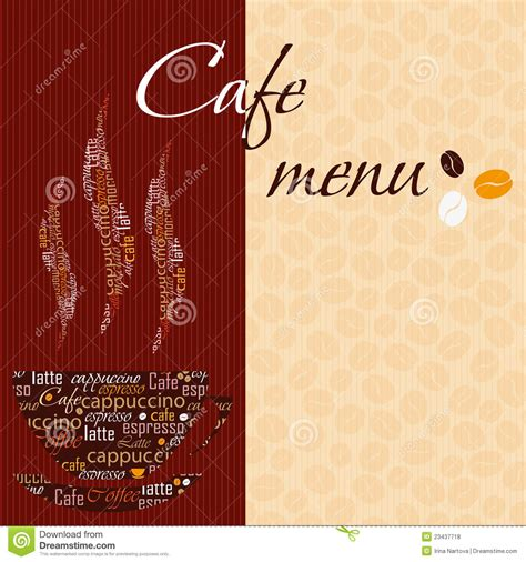 Cafe Menu Template by Template Of A Cafe Menu Royalty Free Stock Photos Image