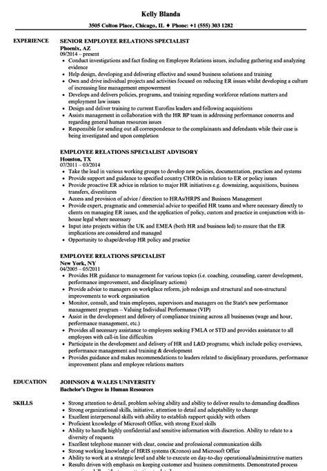Employee Relations Resume by Employee Relations Specialist Resume Sles Velvet